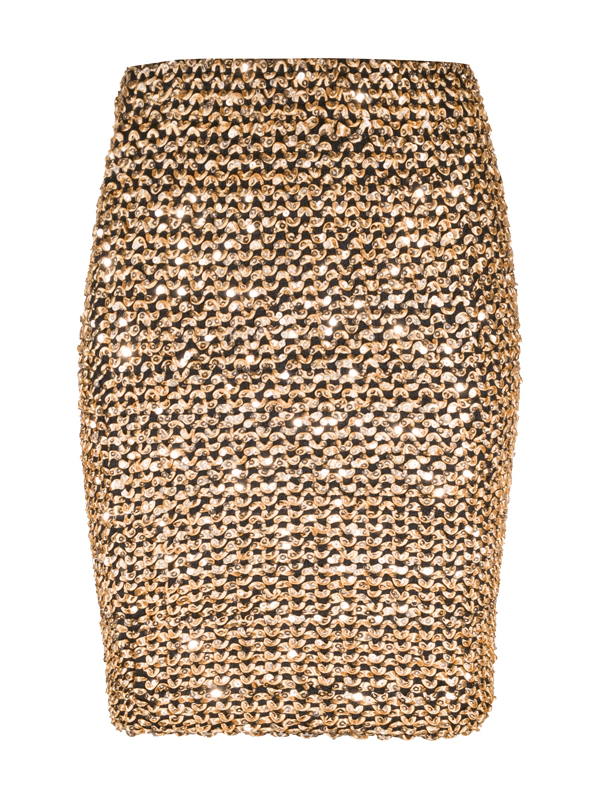Gold sequined bodycon pencil skirt