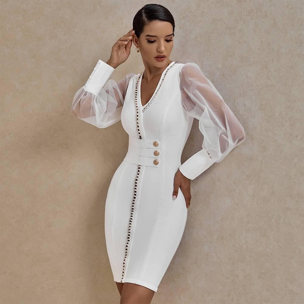 Embellished mesh long sleeve bandage dress