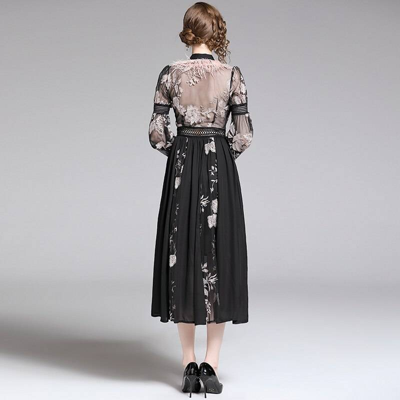 Elegant black feather embroidery lace-up bow mesh dress