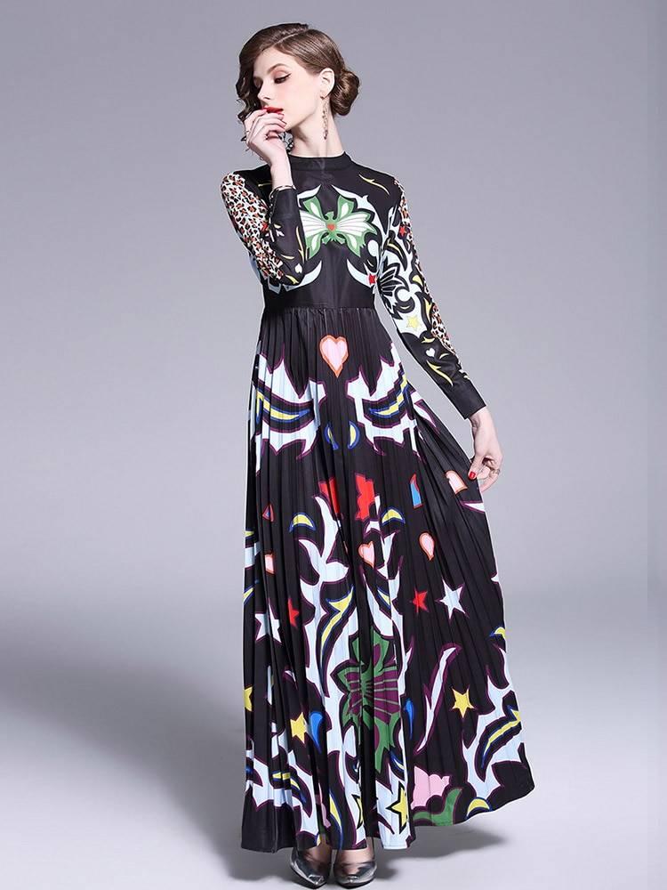 Floral long sleeve patchwork elegant vintage floor length dress