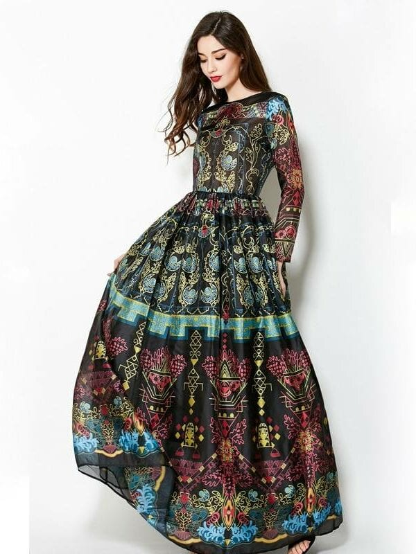 Vintage long sleeves retro print floor-length dress
