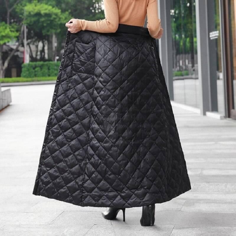 Black high waist autumn winter long skirt