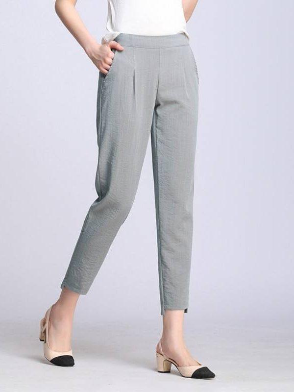 Elastic waist cotton linen ankle length harem pants