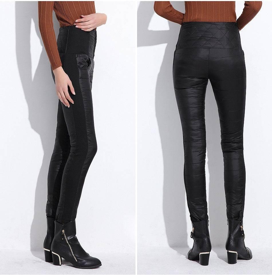 High waist slim warm thick duck down pants