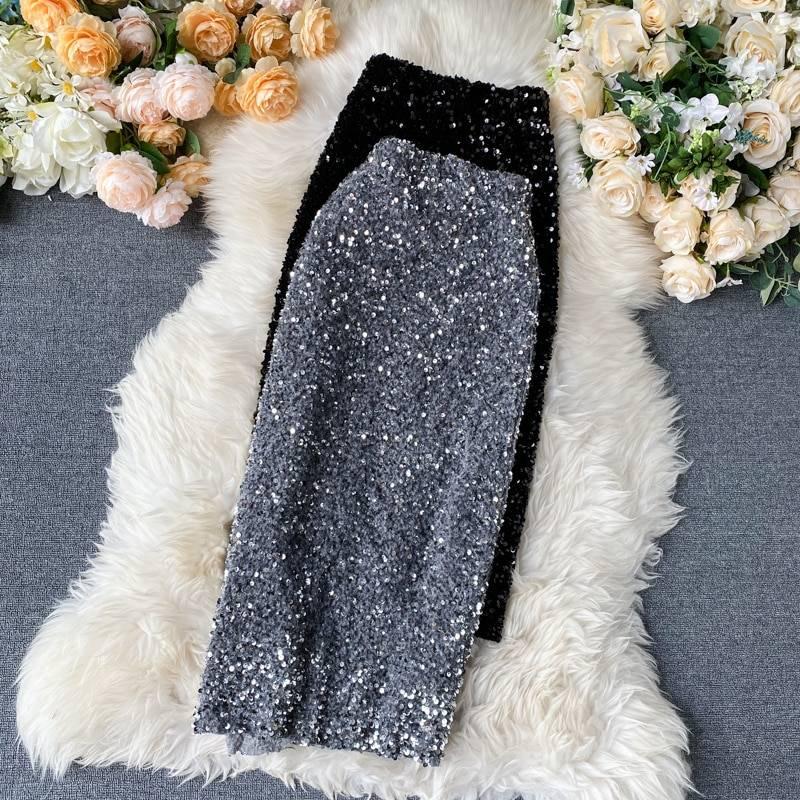 Elegant sequins high waist pencil mid length bodycon skirt