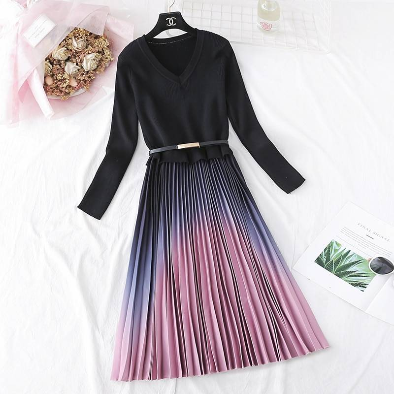 Elegant knitted patchwork gradient pink pleated long sleeve office one-piece sweater dress with belt