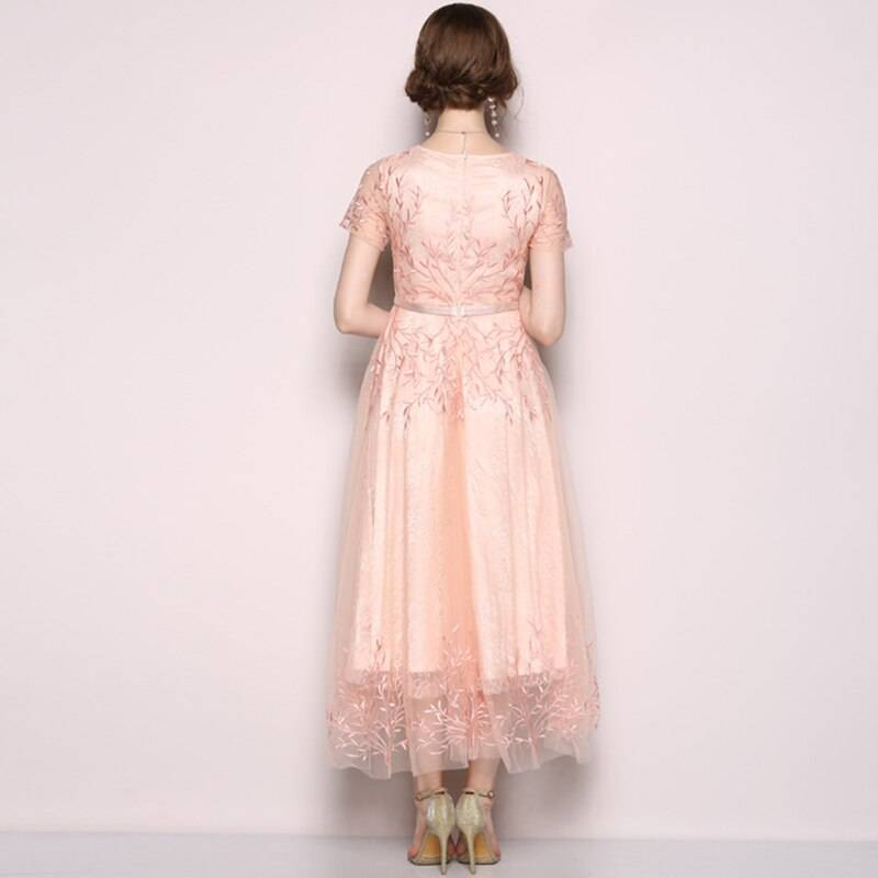 O neck mesh floral embroidery long dress