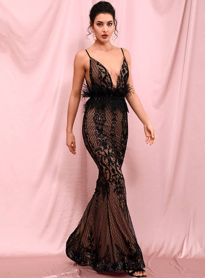 Deep v-neck open back flower embroidery maxi dress (with feather belt)