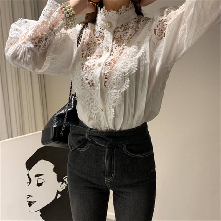 Patchwork lace stand collar hollowing out blouse shirt