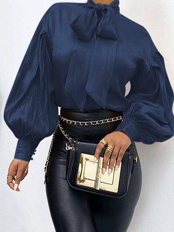 Elegant bow collar long puff sleeve loose office blouse shirt