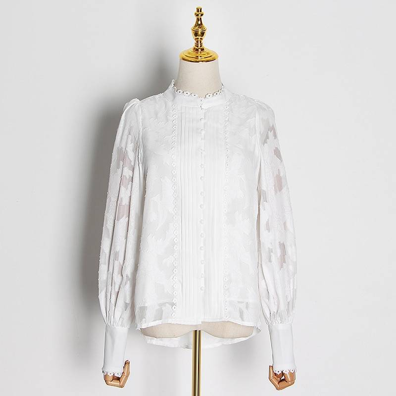 Patchwork lace lantern long sleeves stand collar shirt