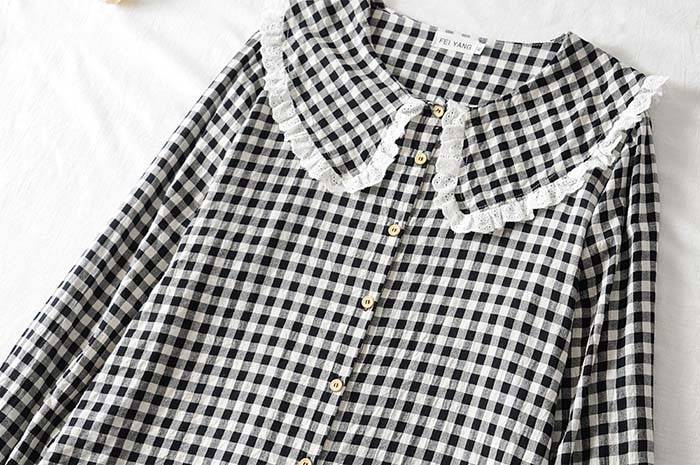 Lace turn-down collar plaid cotton flare sleeve loose blouse shirt