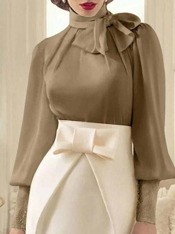 Elegant satin long lantern sleeve bow tie office blouse shirt