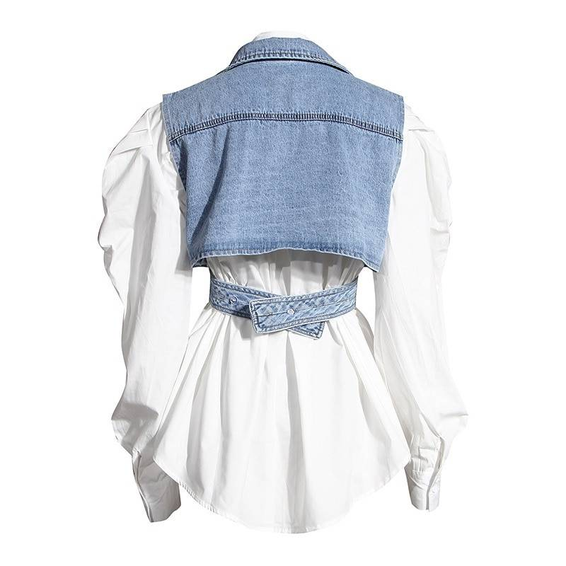 Blue denim single breasted lapel long puff sleeve shirt two pieces