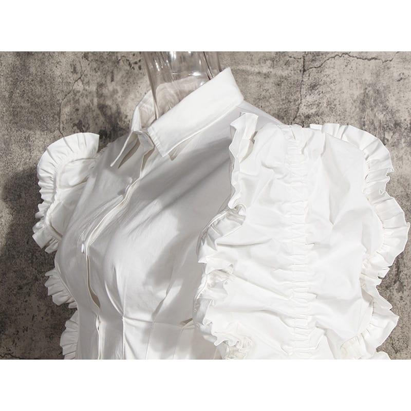 Patchwork ruffle lapel long sleeve high waist tunic blouse shirt