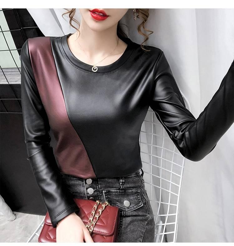 Long sleeve patchwork elastic warm velvet pu leather blouse