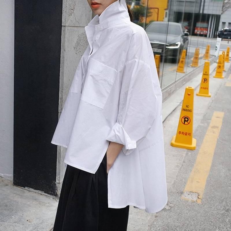 Lapel long sleeve long loose irregular shirt