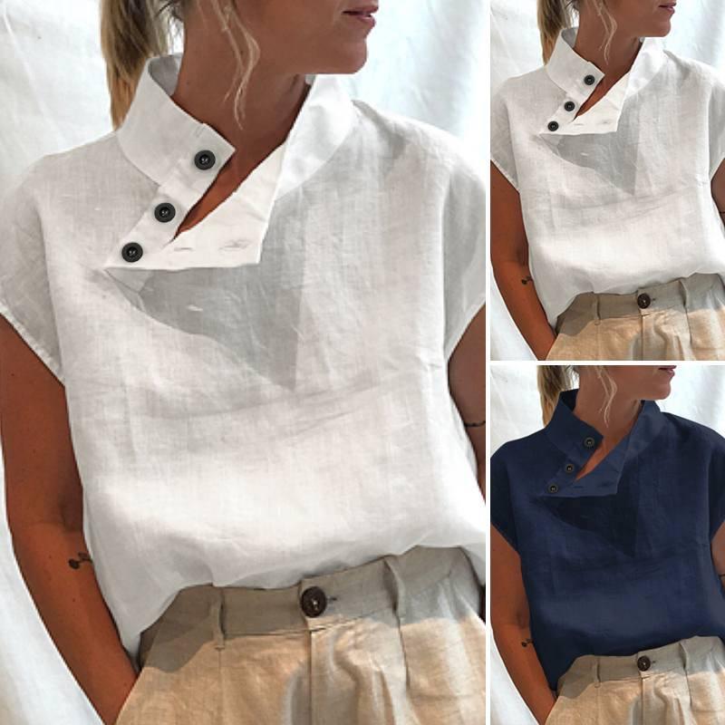 Short sleeve buttons cotton linen loose blouse shirt