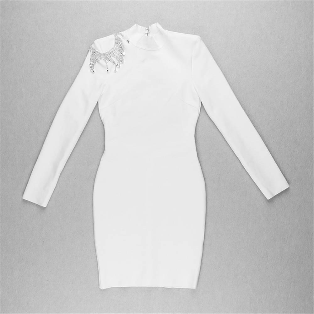 Elegant long sleeve backless bandage dress
