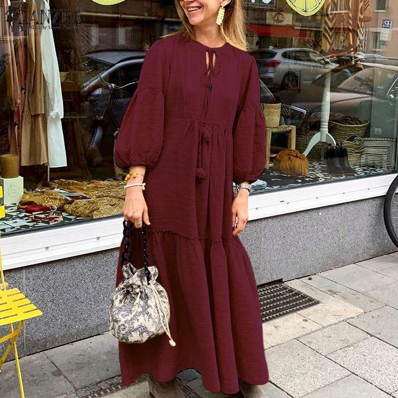 Vintage ruffles lantern sleeve cotton loose maxi dress