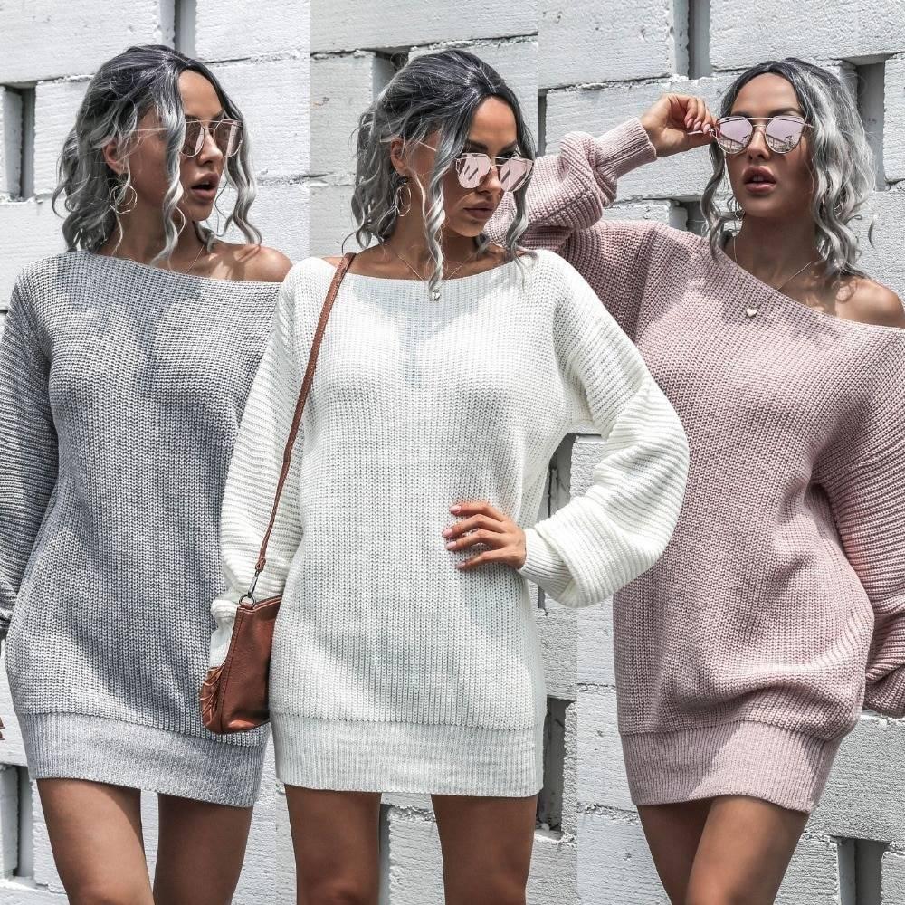Off shoulder long sleeve loose knitted dress