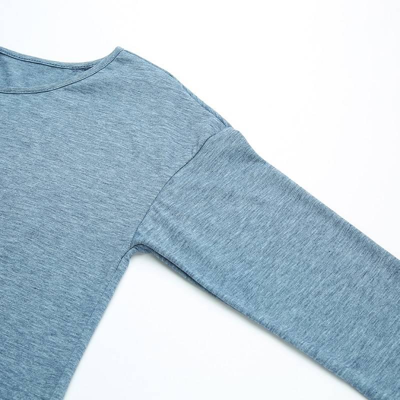 Asymmetric o neck long sleeve loose tunic blouse