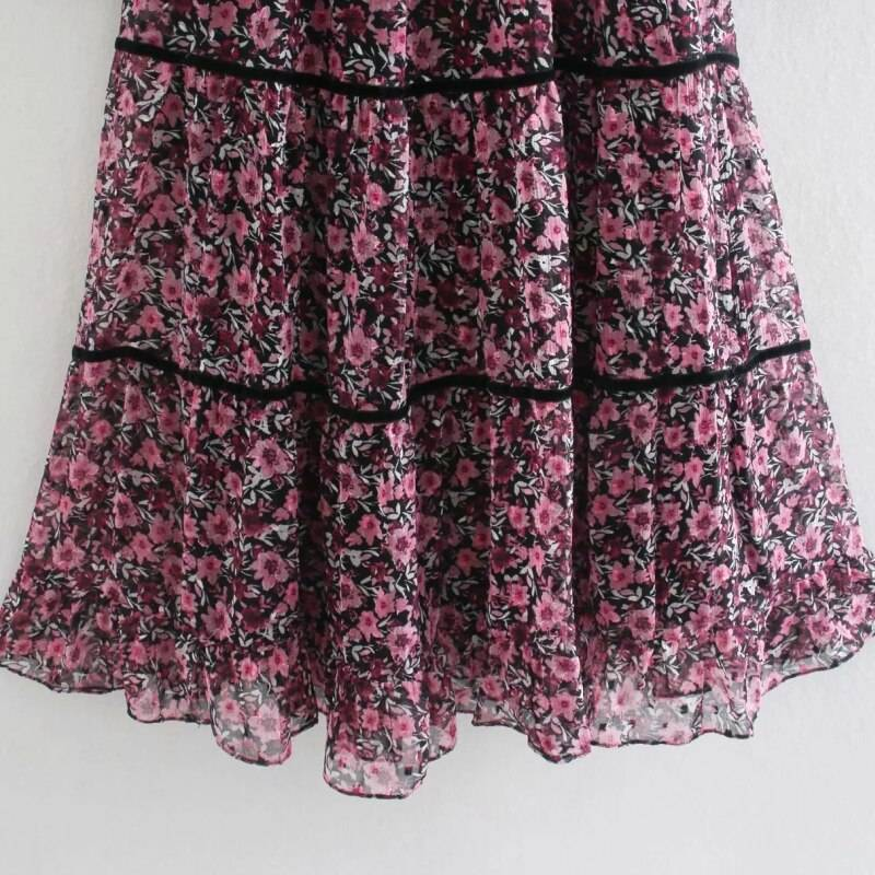 Floral printing chiffon o neck puff sleeve loose tiered ruffle midi dress