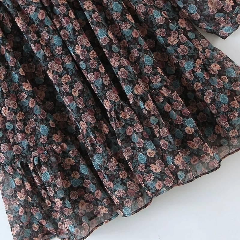 Vintage floral bow tie neck pleated see through sleeve print mini dress