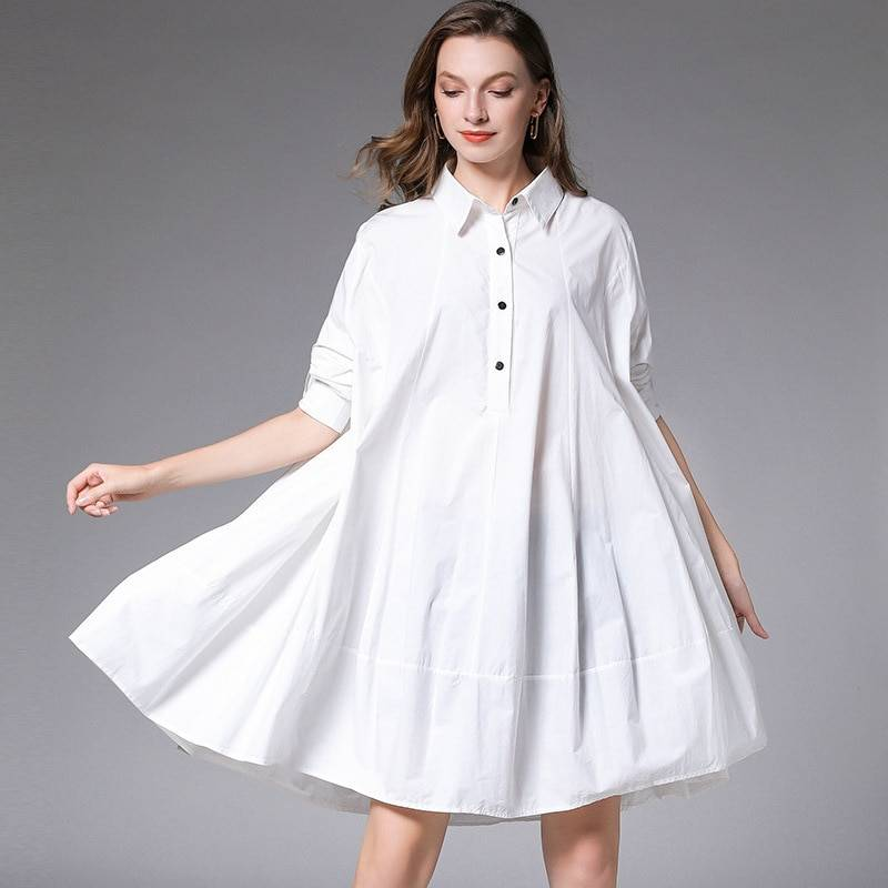 Loose wild button lapel collar full sleeve shirt dress