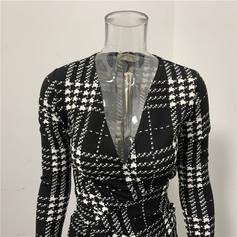 Elegant v-neck long sleeve a-line plaid bodycon office mini dress