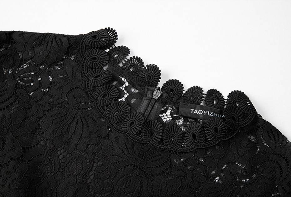 High waist print organza black lace dress