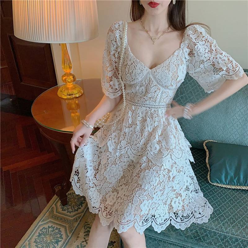 Elegant floral embroidery lace hollow out high waist holiday dress