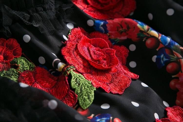 Elegant rose flower print embroidery vintage long dress