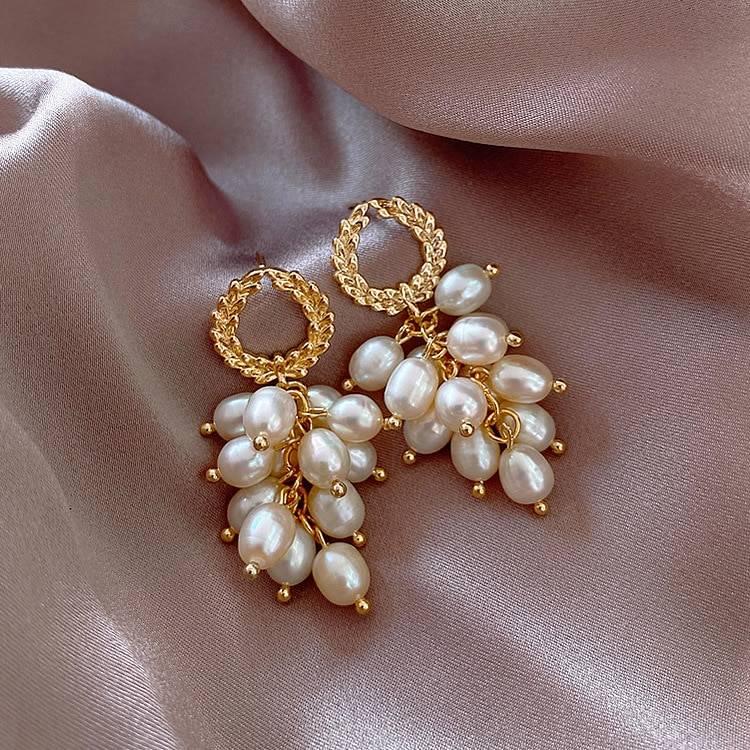 Strands pearl drop white elegant statement earings