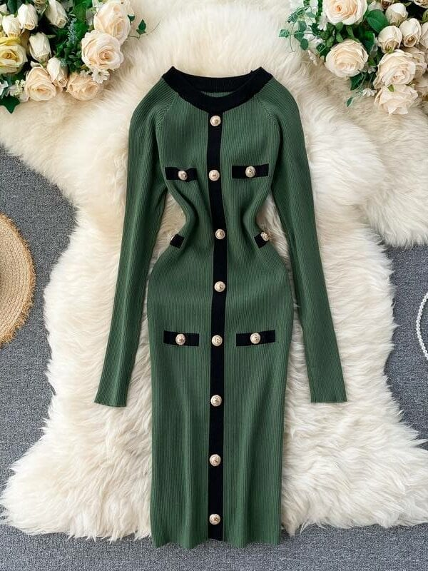 Elastic o neck button knitted sheath office bodycon dress