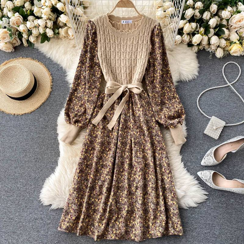 O neck puff sleeve bow drawstring a line knitted dress