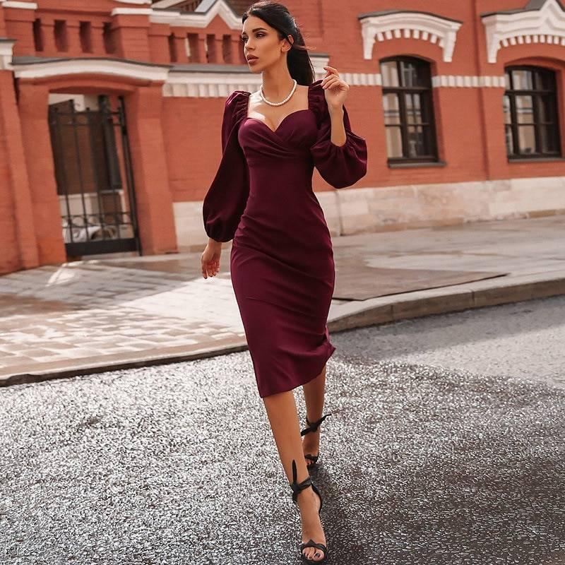Elegant vintage v neck off shoulder bodycon midi dress