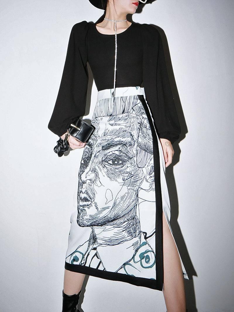 Vintage print split high waist long skirt