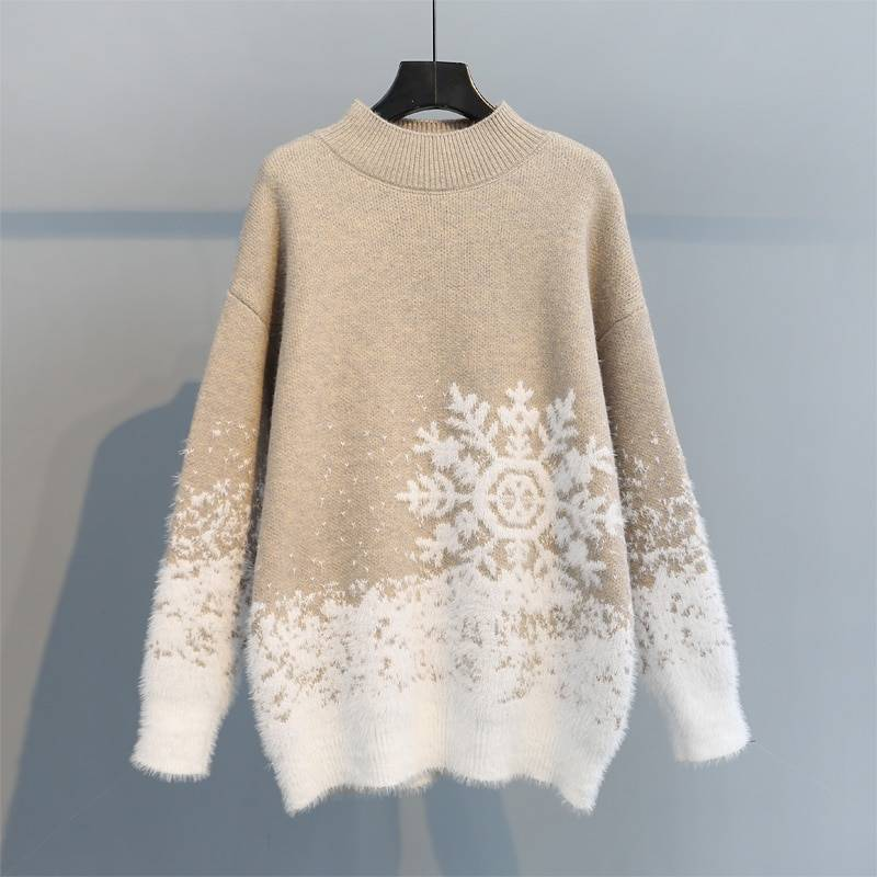 Turtleneck ribbed knitted pullover sweater
