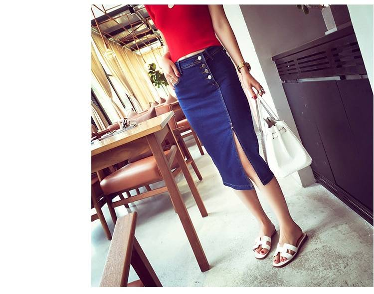 High waist with buttons in front office bodycon denim skirt