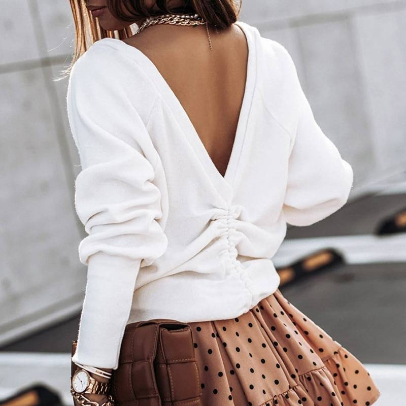 Casual loose drawstring open back white long sleeve sweatshirt pullover