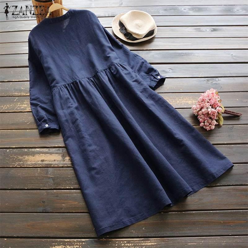 Embroidery cotton long sleeve long shirt dress