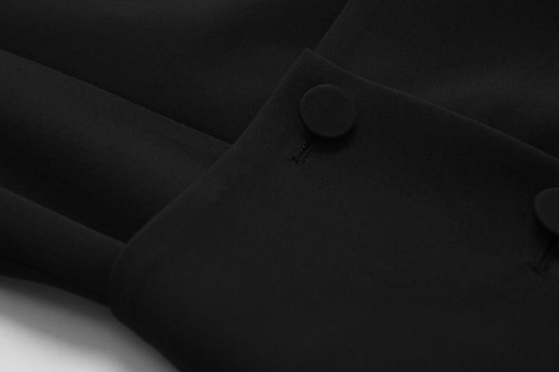 Black irregular lapel long sleeve loose button dress