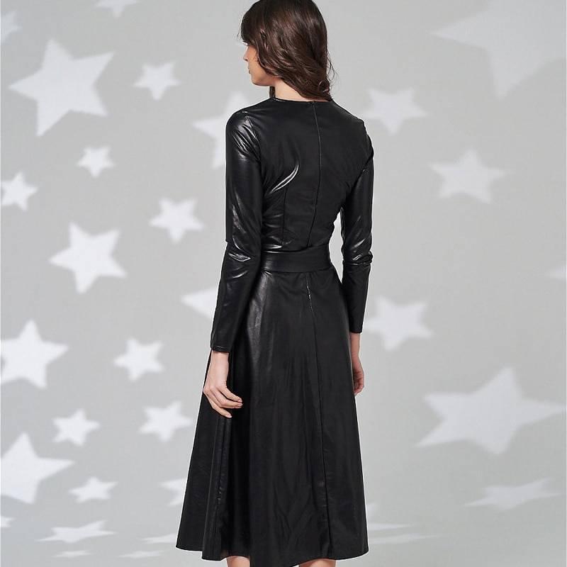 Elegant long sleeve belt pu leather dress