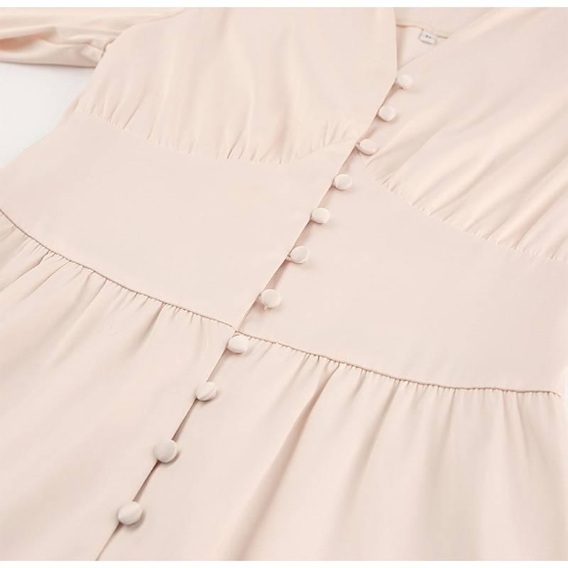 Elegant satin bishop sleeve v-neck high waist a-line button dress
