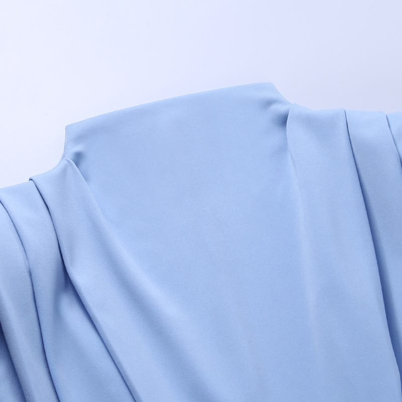 Elegant stand collar solid blue ankle length long sleeve dress