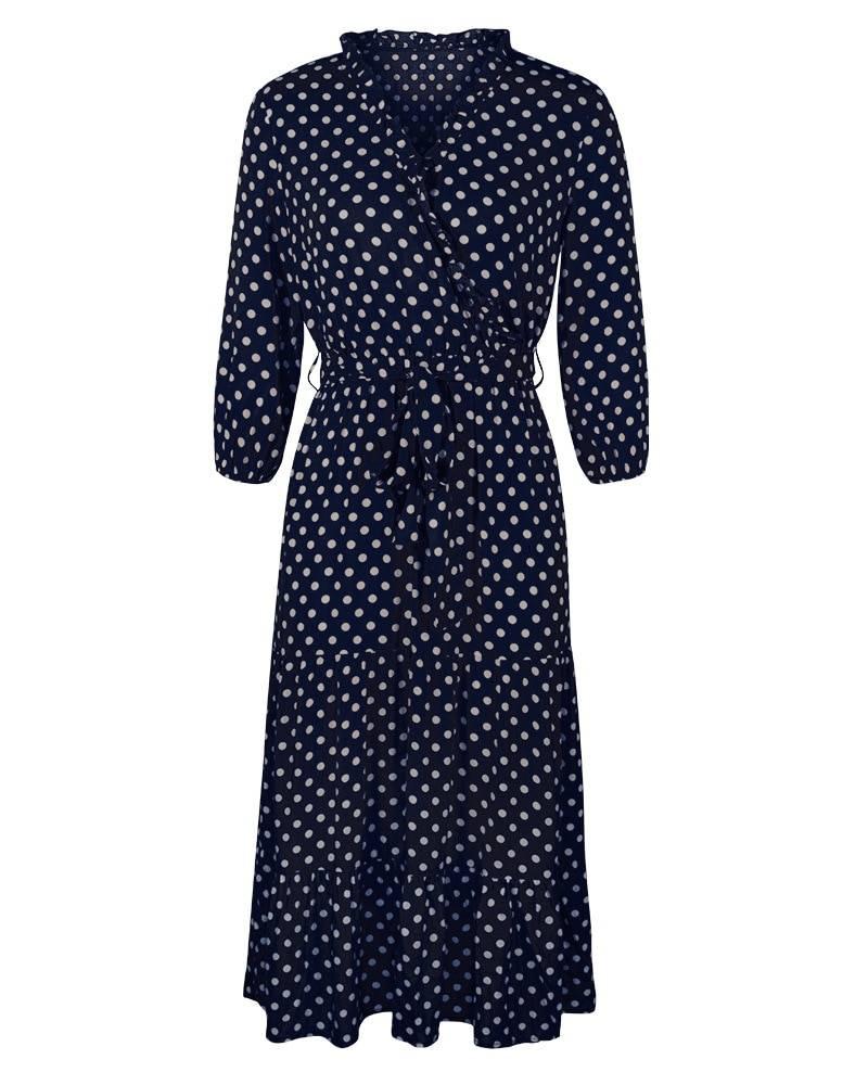 Dot ruffles v neck high waist print long dress