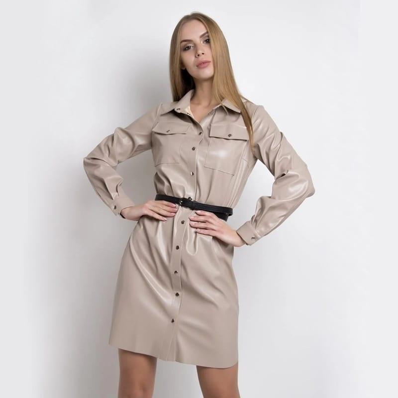 Turn down collar pockets belt button long sleeve pu leather office dress