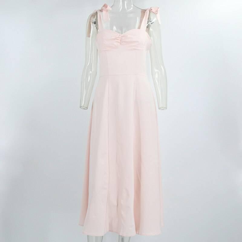 Sleeveless bow tie spaghetti strap a line backless pink midi dress