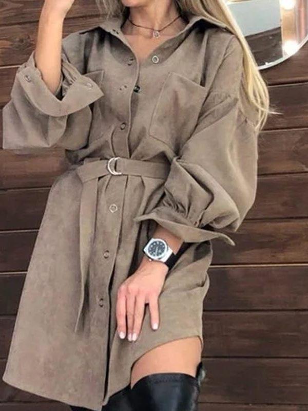 Vintage long sleeve with belt button mini dress